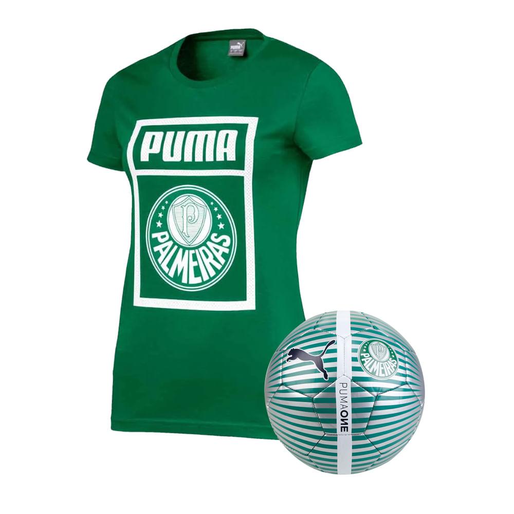 Camiseta-Casual-Palmeiras-Puma-Verde-19-20---Feminina---Bola
